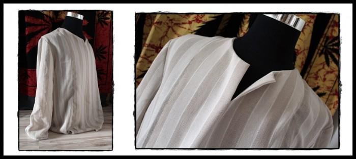 Couture d'une tunique en lin pour homme